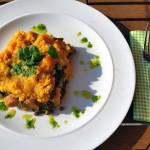 Puy Lentil Coriander Pesto Bake With Sweet Potato Mash