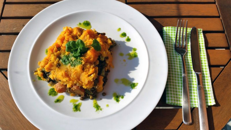 Puy Lentil Coriander Pesto Bake With Sweet Potato Mash
