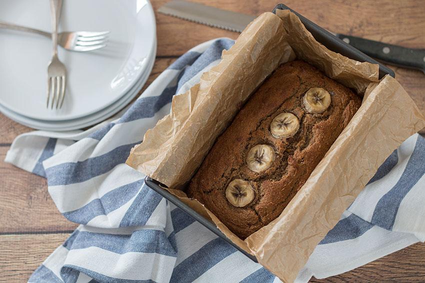 Rye Banana Bread in pan