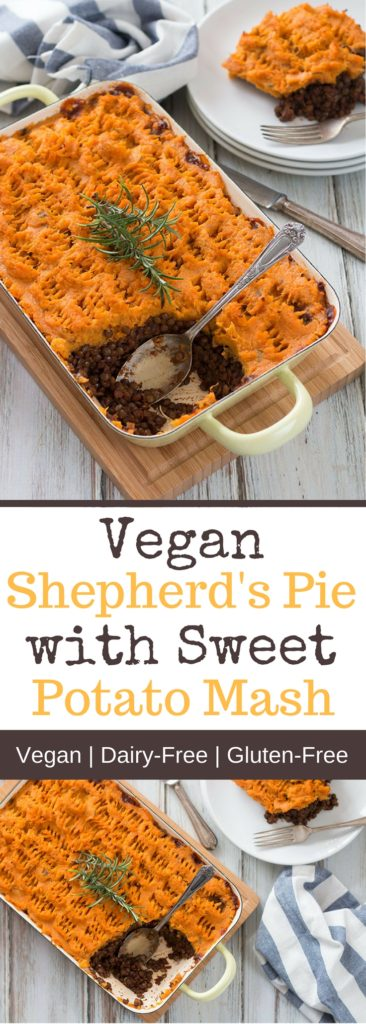 Vegan Shepherds Pie with Sweet potatoes