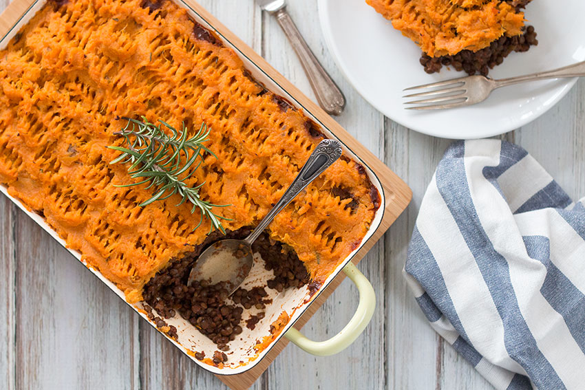 Vegan Shepherd's Pie With Sweet Potato Mash