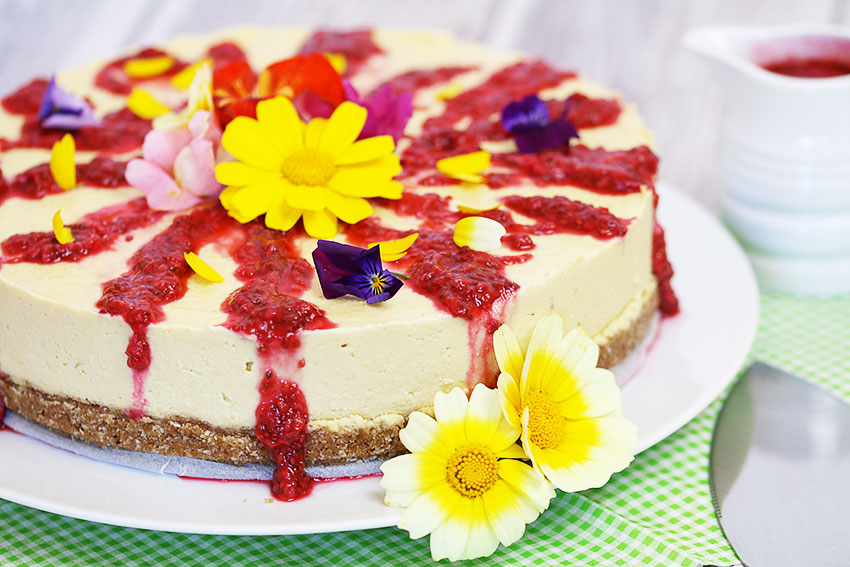 Mango & Coconut Cheesecake With Raspberry Sauce