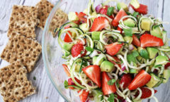 courgette, avocado and strawberry salad