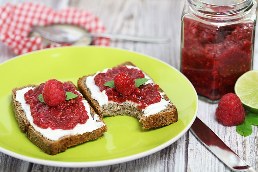 sourdoughbread with raspberry jam with chia seeds