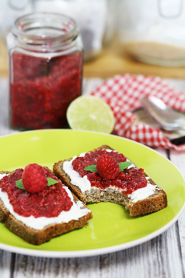 sourdoughbread with raspberry chia jam
