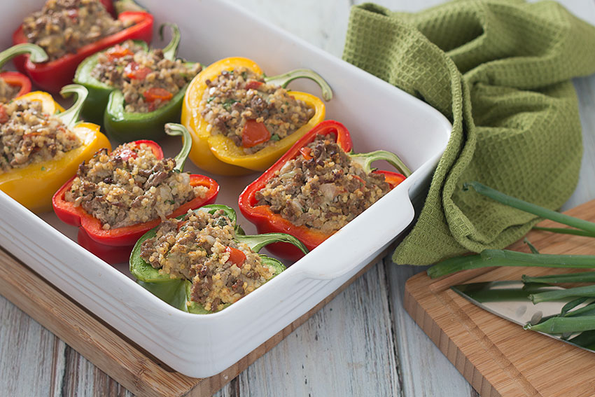 Beef & Millet Stuffed Peppers in tray