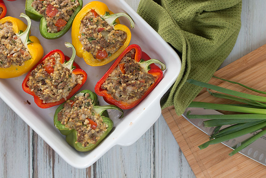 Beef & Millet Stuffed Peppers