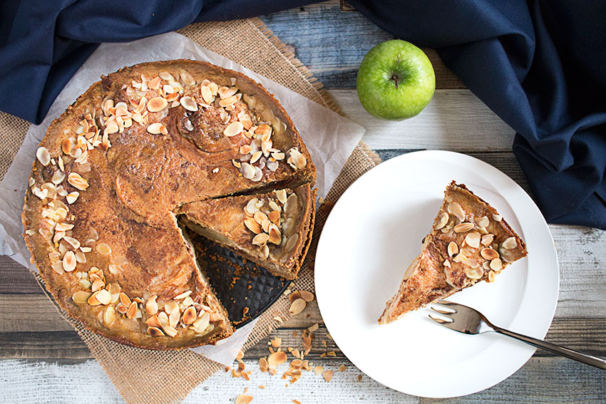 apple cake and slice on plate