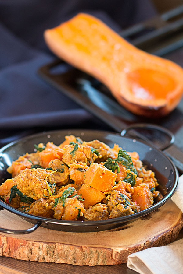 Tempeh sweet potato and butternut squash hash