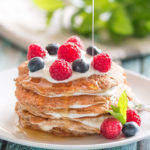Banana Oat Pancakes with Maple Syrup
