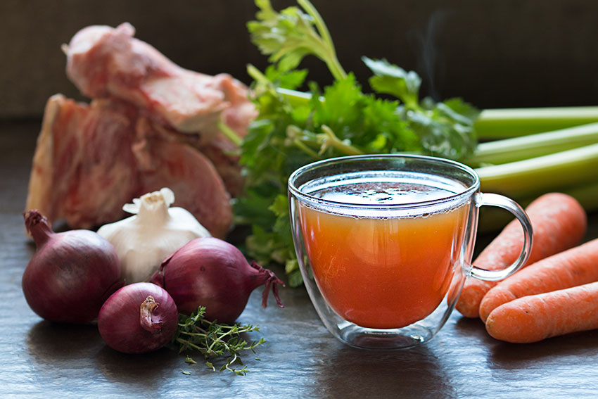 healthy beef bone broth in a cup