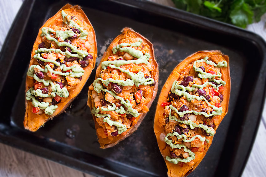 Stuffed Sweet Potatoes with Avocado Sauce