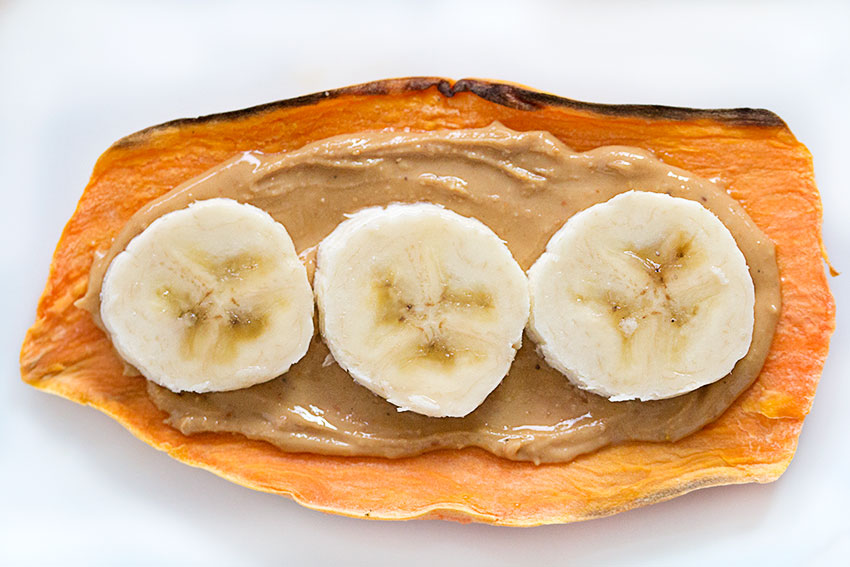 sweet potato toasty with peanut butter and banana
