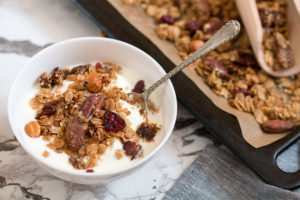 healthy granola in breakfast bowl