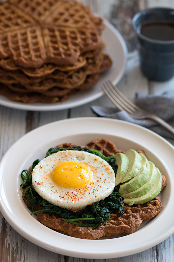Sweet Potato Waffles With Avocado, Spinach and Egg