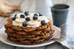 Sweet Potato Waffles With Yoghurt and Fruits