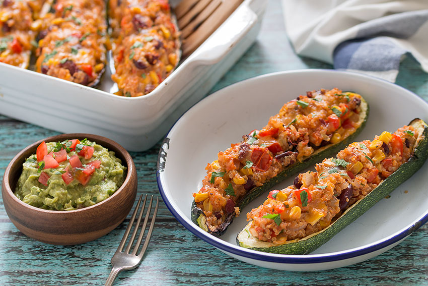 Grilled Zucchini Boats on a plate