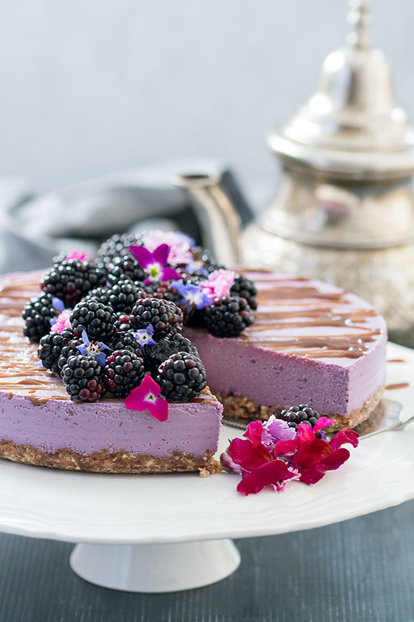 Vegan, No-Bake Blackberry Cheesecake with teapot