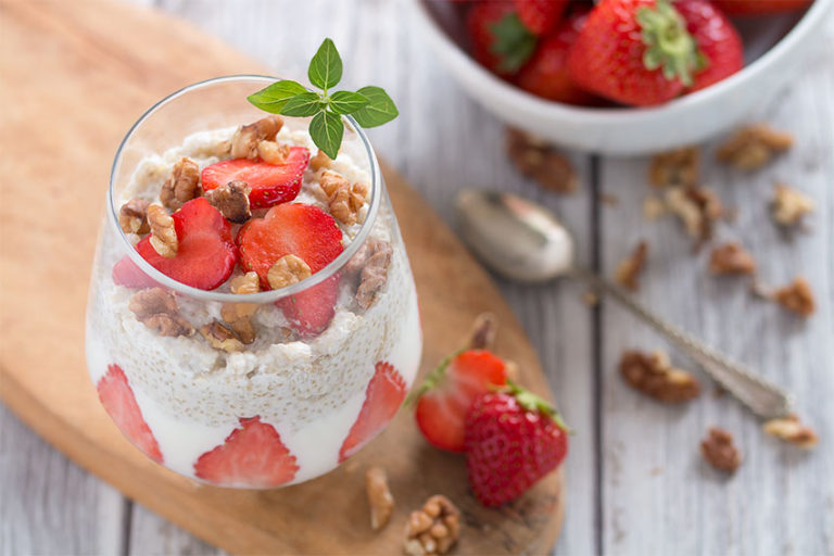 Quinoa and strawberry parfait protein foods forbreakfast
