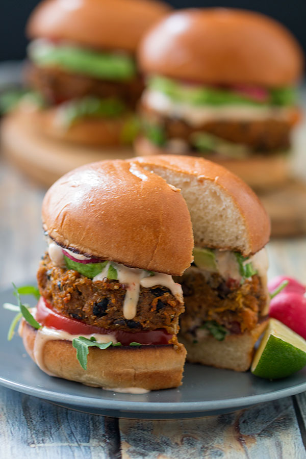 Quinoa black bean burgers sliced