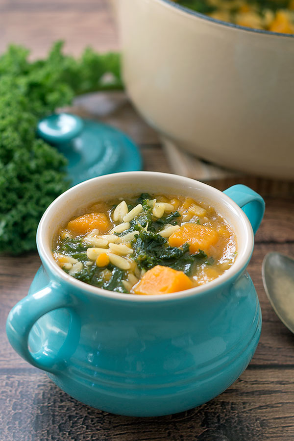 Vegan Kale and Pumpkin soup with Orzo