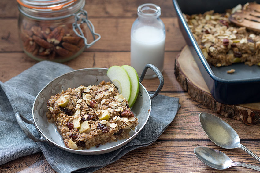 Baked Protein Oatmeal with spoons