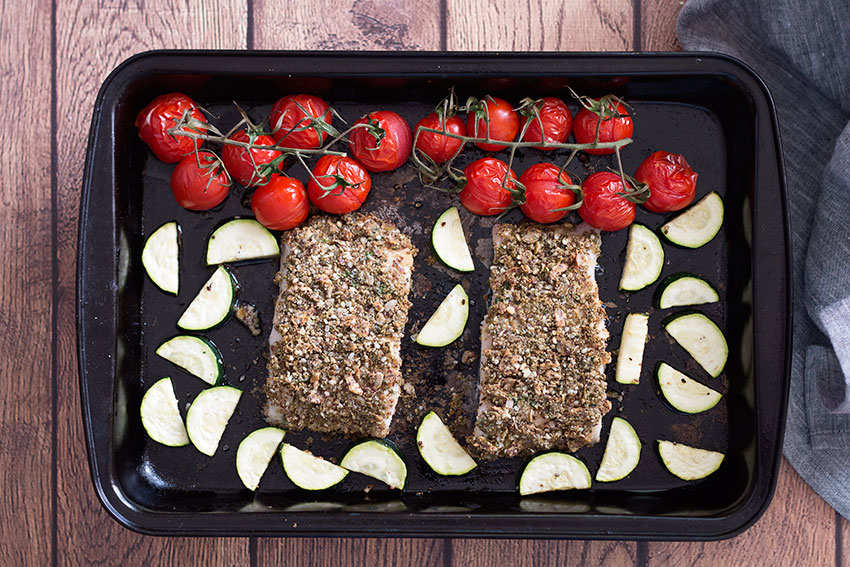 Roasted Hake With Hemp & Herb Crust in tray