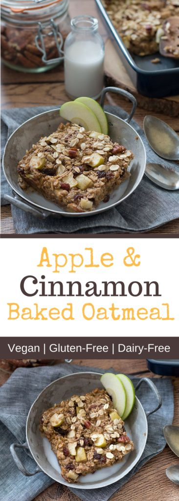Apple and cinnamon baked oatmeal with natural protein