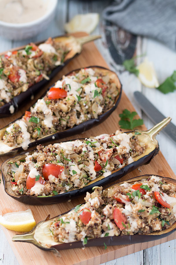 Quinoa Stuffed Eggplant With Lemon Tahini Sauce