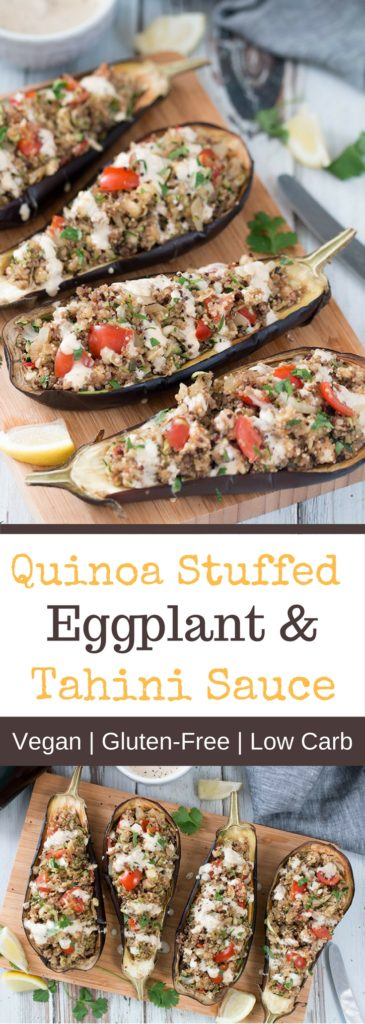 Quinoa Stuffed Eggplant With Tahini Lemon Sauce