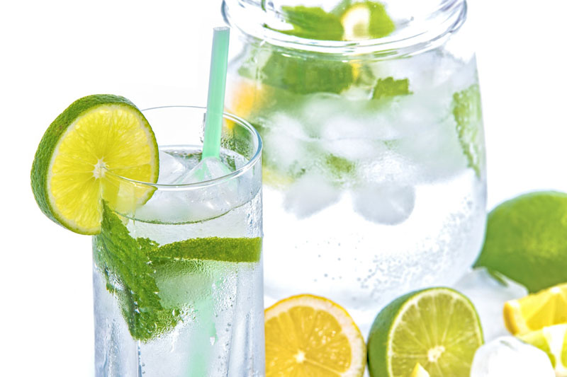 mineral water lime ice mint