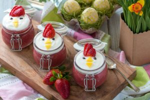 Healthy Strawberry Puree With Coconut Yoghurt For Kids