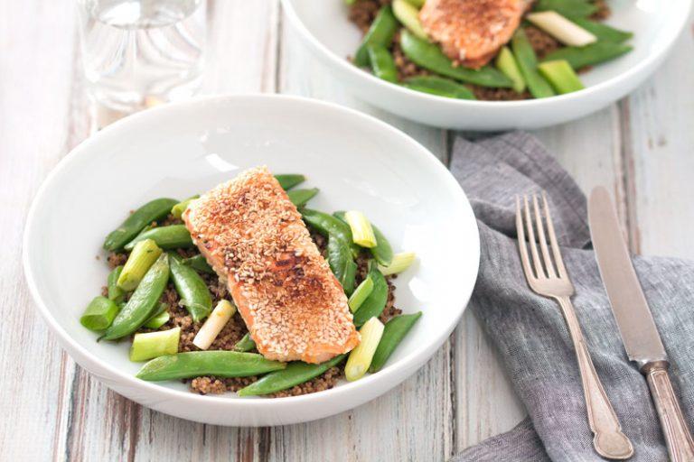 Easy Miso & Sesame Salmon With Sugar Snap Peas