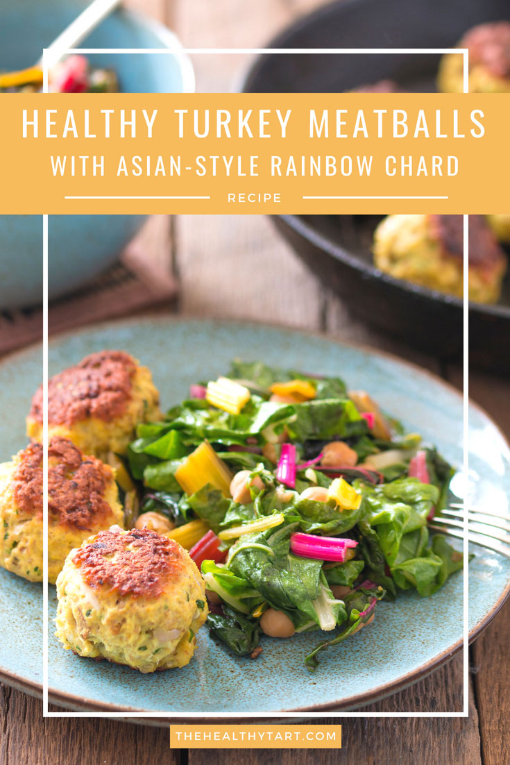 Healthy turkey meatballs with Asian-style rainbow chard