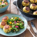 Healthy turkey meatballs with Asian-style rainbow chard