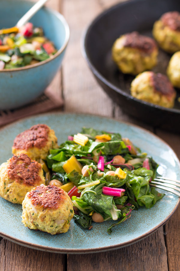 Healthy turkey meatballs with Asian-style swiss chard