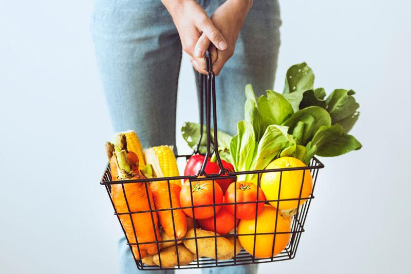 raw food shopping basket