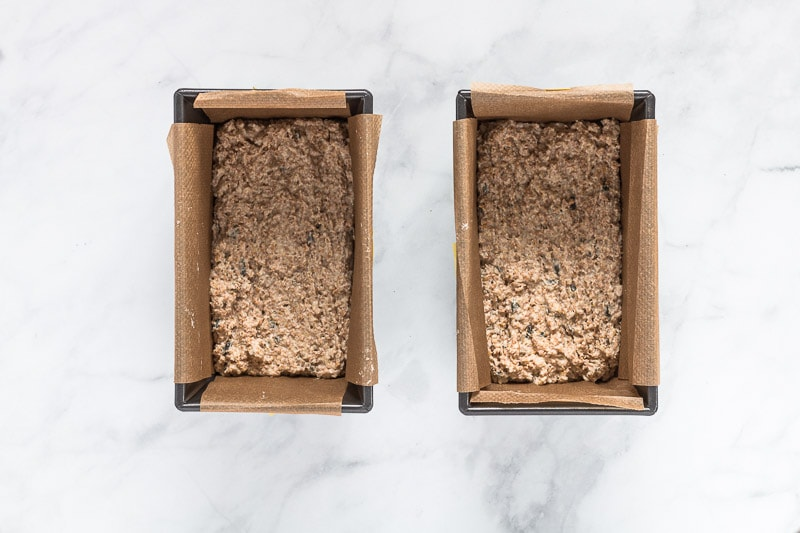 Multi seeded wholemeal soda bread dough in baking pan