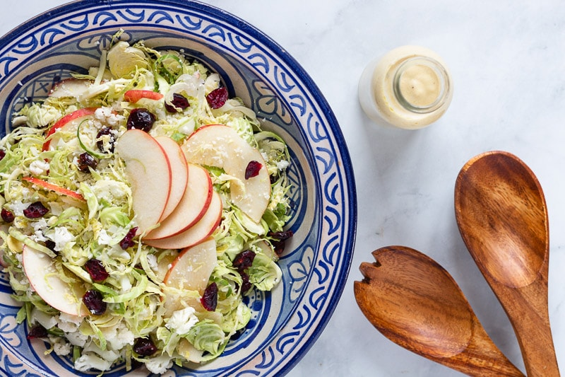 Brussels Sprout and Cauliflower Salad with creamy Honey Mustard Dressing
